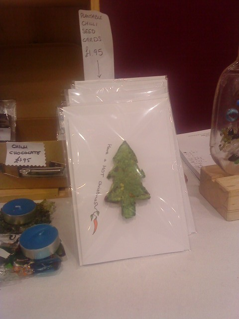 photo of Christmas Card with tree on made from chilli seeds